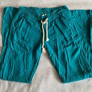 Roxy linen blend turquoise rope Oceanside pants